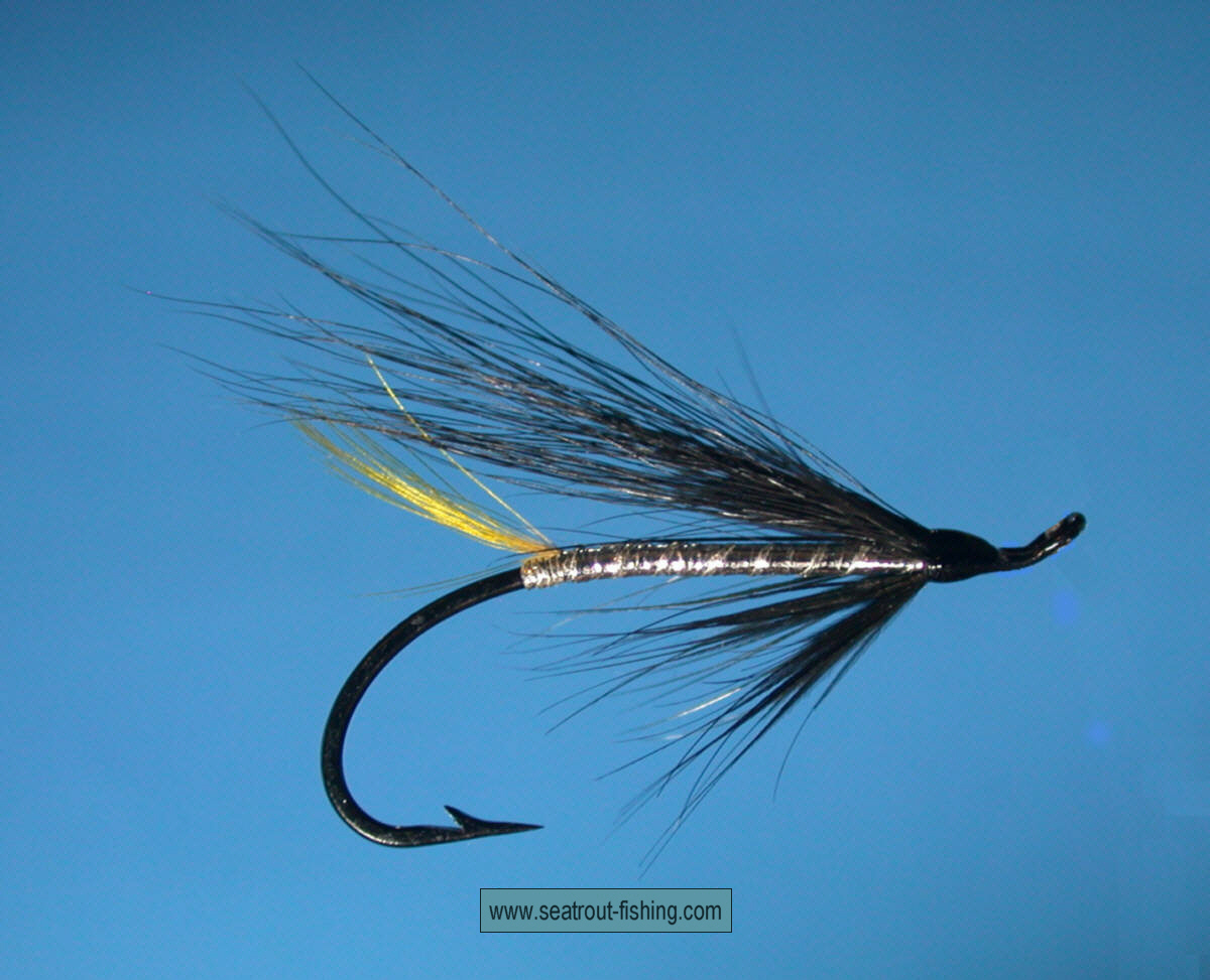 5 Black and Silver Sea Trout Flies on Size 10 Small Doubles